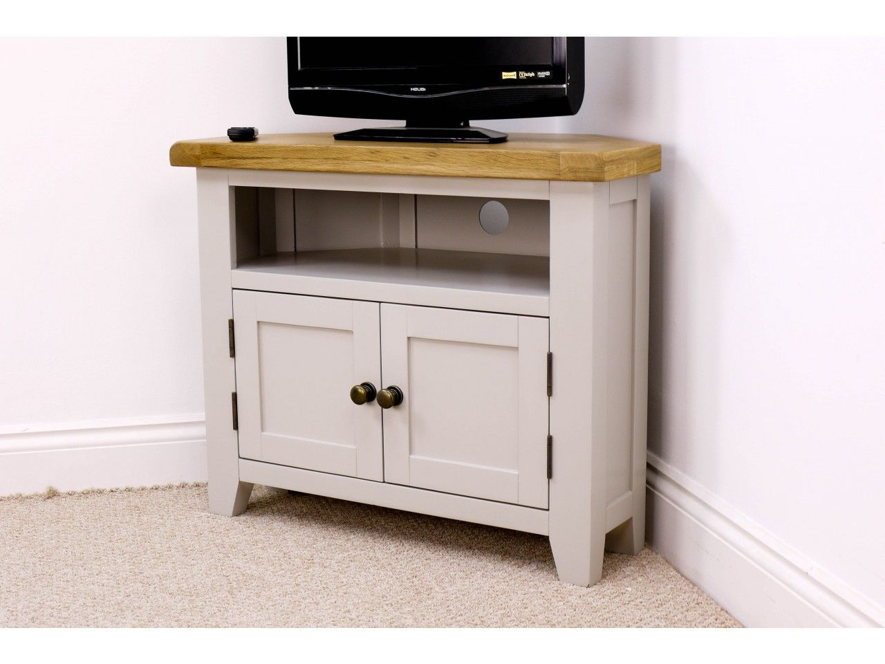 """Arklow Painted Oak Corner Tv Unit For Screens Up To 38 Pertaining To Mission Corner Tv Stands For Tvs Up To 38"""" (View 3 of 20)"""