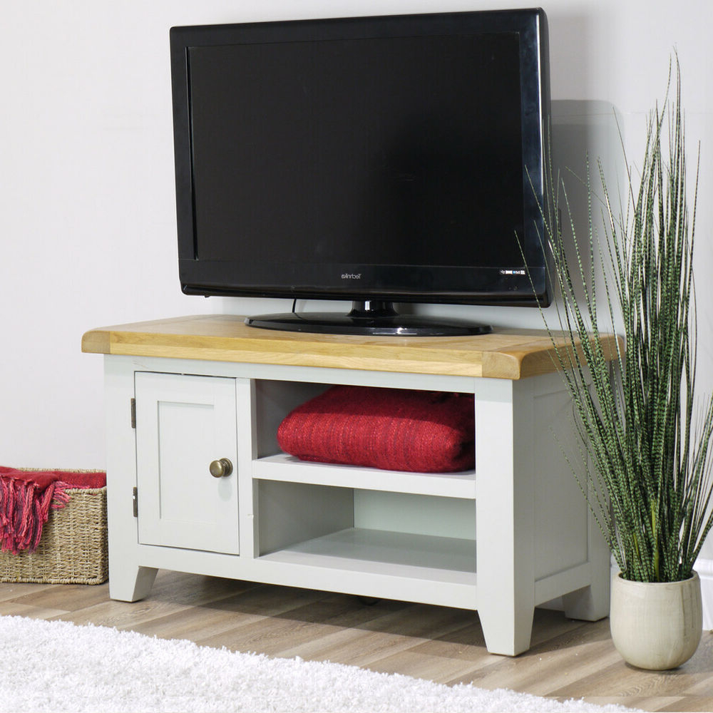 Arklow Painted Oak Small Tv Stand / 90cm Grey Solid Tv Intended For Manhattan Compact Tv Unit Stands (View 7 of 20)