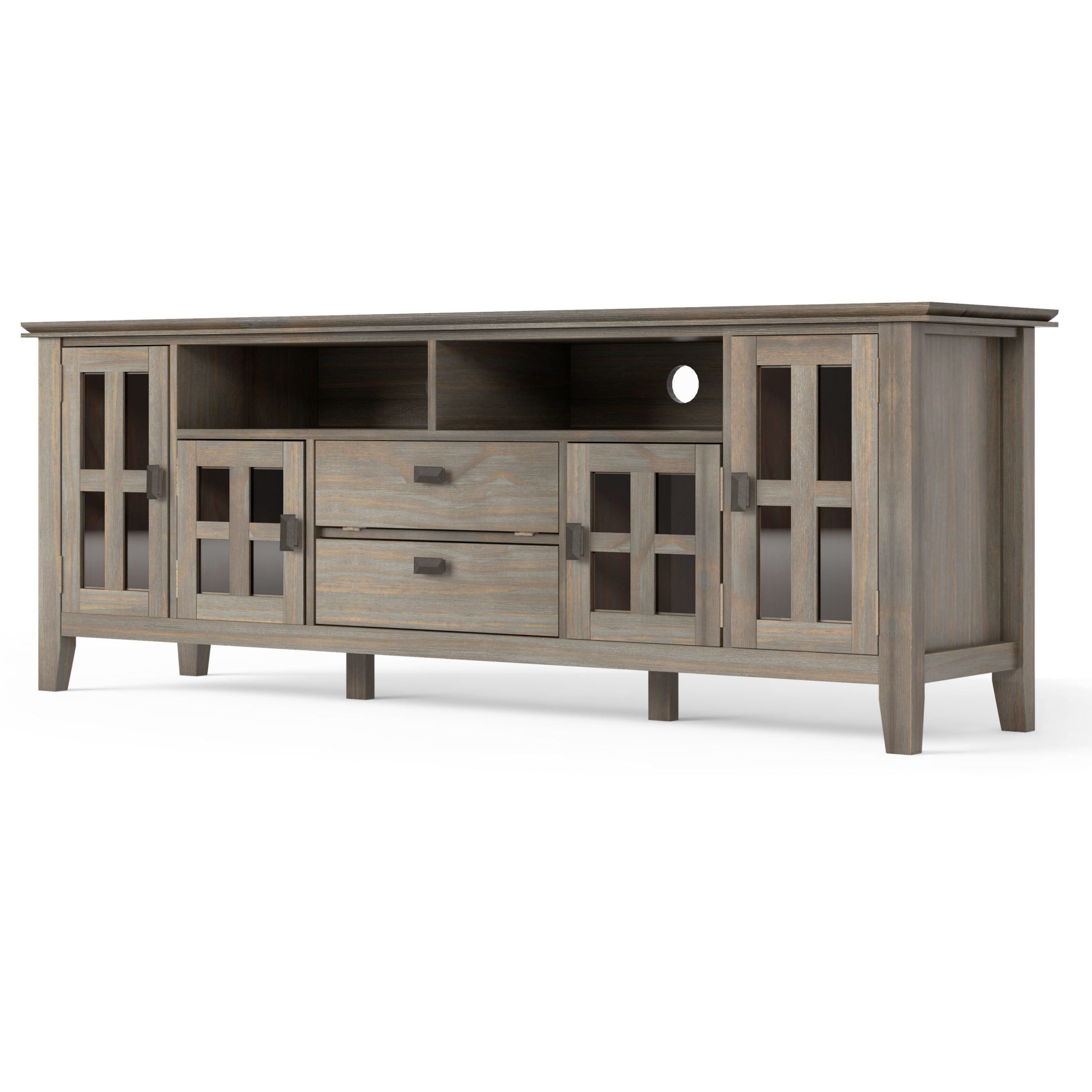 Artisan Solid Wood 72 Inch Wide Contemporary Tv Media Inside Bromley Extra Wide Oak Tv Stands (View 5 of 20)