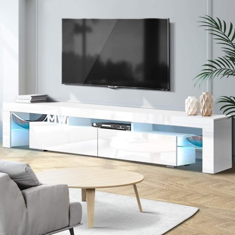 Artiss Tv Cabinet Entertainment Unit Stand Rgb Led Gloss Inside 57'' Led Tv Stands With Rgb Led Light And Glass Shelves (View 13 of 20)