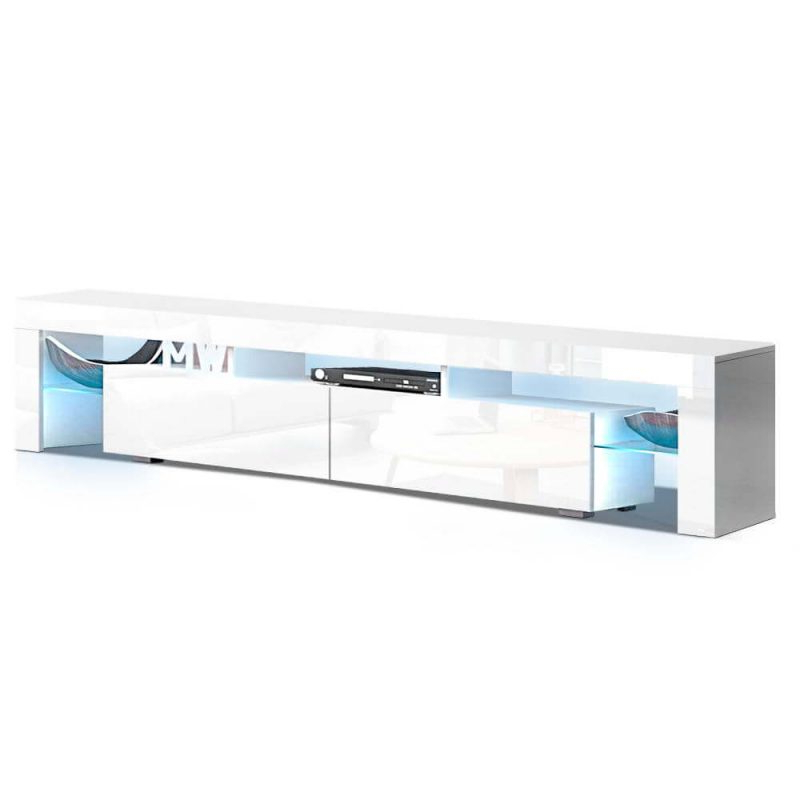 Artiss Tv Cabinet Entertainment Unit Stand Rgb Led Gloss With Regard To 57'' Led Tv Stands With Rgb Led Light And Glass Shelves (View 12 of 20)