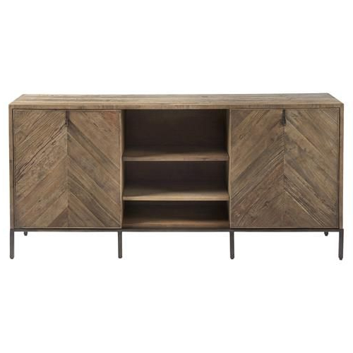 Ashley Rustic Lodge Brown Herringbone Pattern Wood Media Within Media Console Cabinet Tv Stands With Hidden Storage Herringbone Pattern Wood Metal (View 3 of 20)