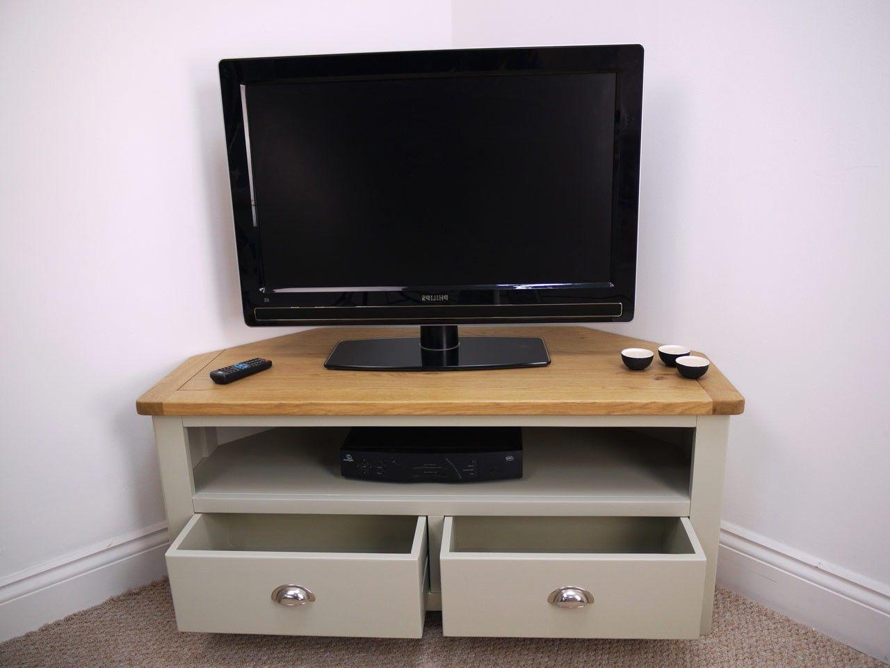 Aspen Painted Oak Sage Grey Corner Tv Unit | Oak Corner Tv For Bromley Oak Tv Stands (View 10 of 20)
