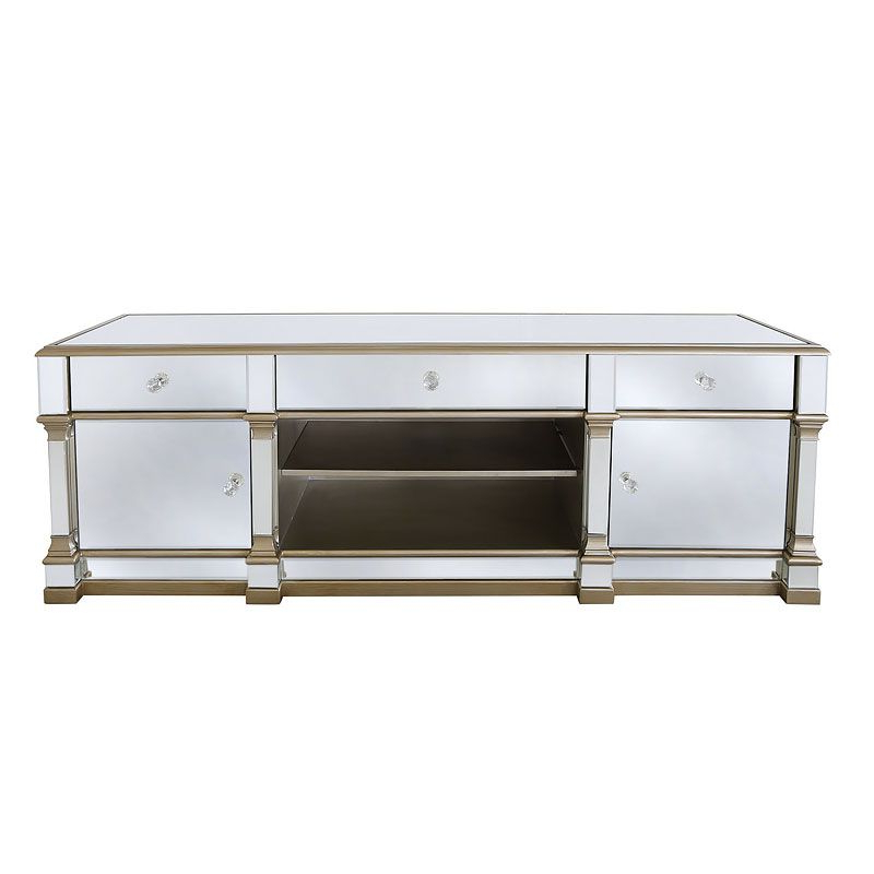 Athens Gold Mirrored Tv Entertainment Stand – Large In In Fitzgerald Mirrored Tv Stands (View 2 of 20)