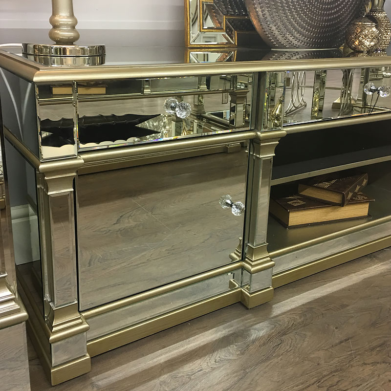 Athens Gold Mirrored Tv Entertainment Stand – Large Regarding Fitzgerald Mirrored Tv Stands (View 9 of 20)