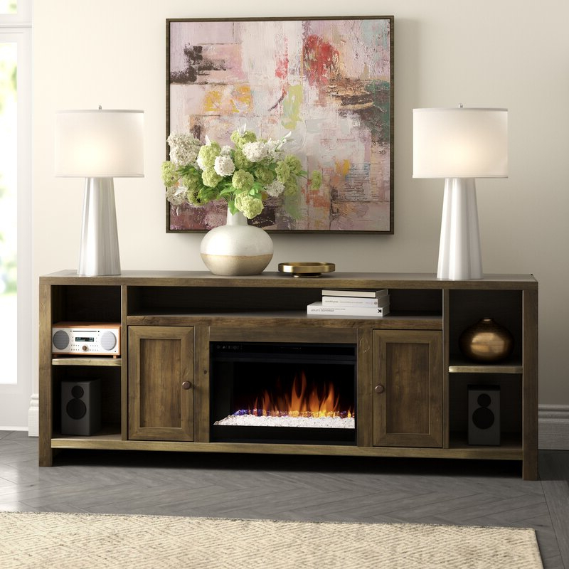 """Aubree Tv Stand For Tvs Up To 88"""" With Electric Fireplace Pertaining To Gosnold Tv Stands For Tvs Up To 88"""" (View 5 of 20)"""