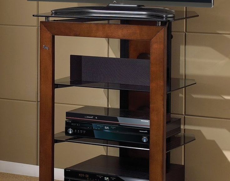 Audio Component Stand Tv Media Rack Entertainment Glass For Milan Glass Tv Stands (View 2 of 20)