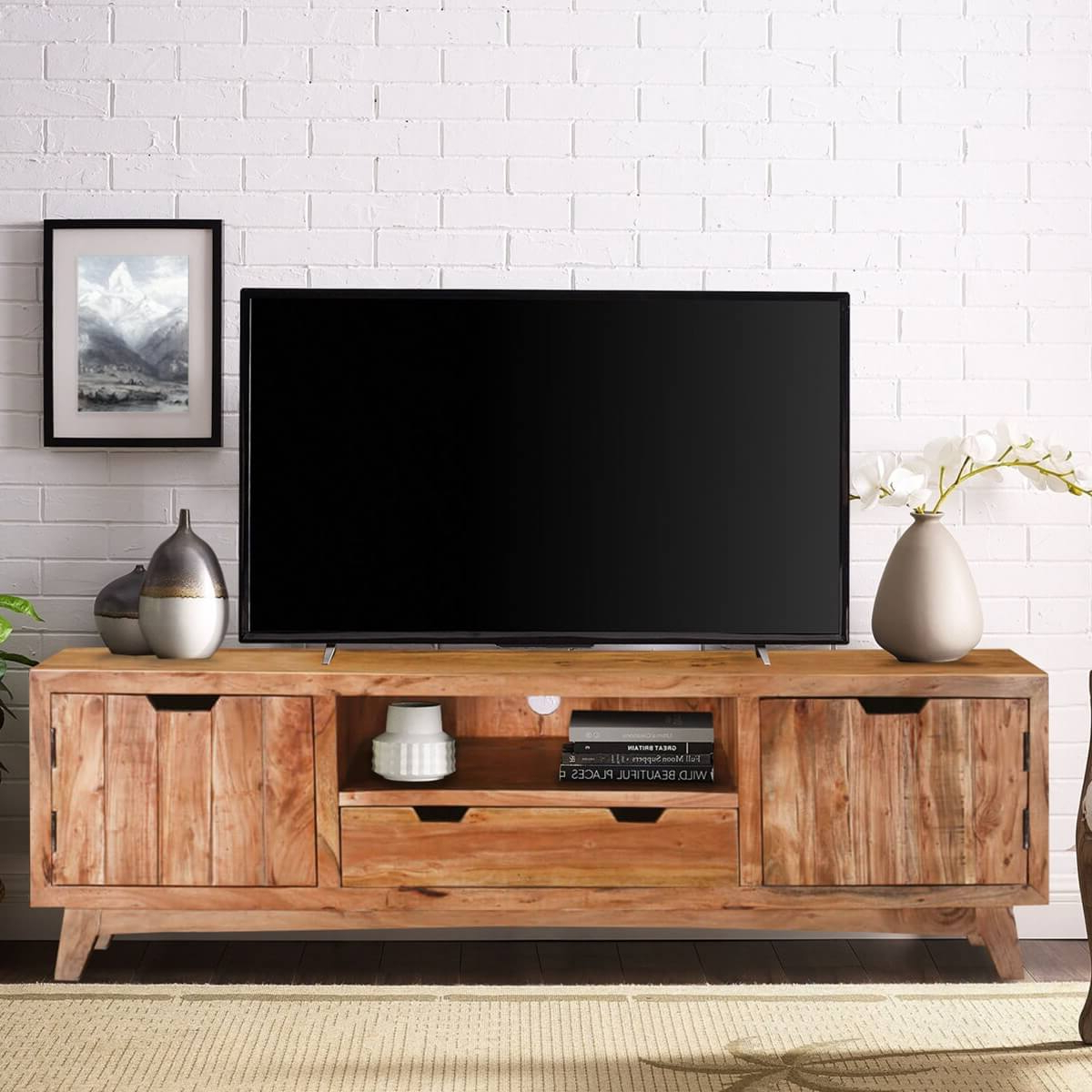 Augusta Handcrafted Two Drawer Solid Wood Tv Media Cabinet Intended For Manhattan 2 Drawer Media Tv Stands (View 15 of 20)