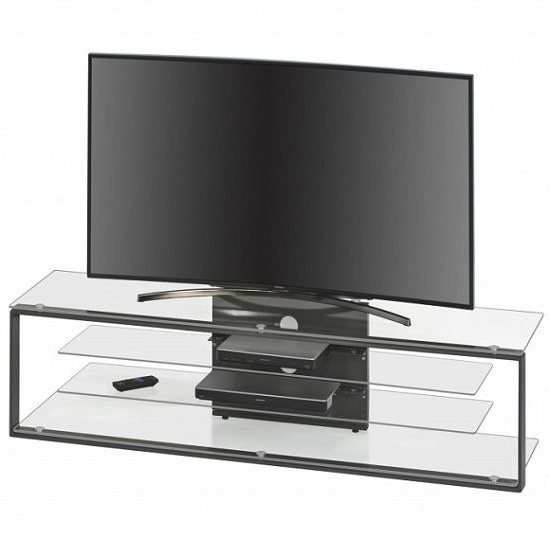 Avelyn Tv Stand In Clear Glass With Anthracite Metal Frame In Conrad Metal/glass Corner Tv Stands (View 12 of 20)