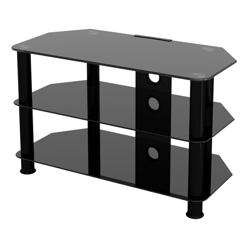 """Avf Group Classic Corner Glass Tv Stand With Cable In Corner Tv Stands For Tvs Up To 43"""" Black (View 1 of 20)"""