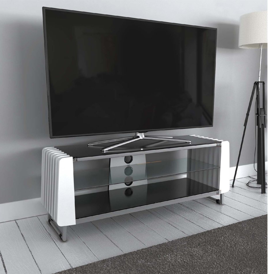 """Avf Grv1250a White Options Groove Tv Stand For Up To 55 In Spellman Tv Stands For Tvs Up To 55"""" (View 8 of 20)"""