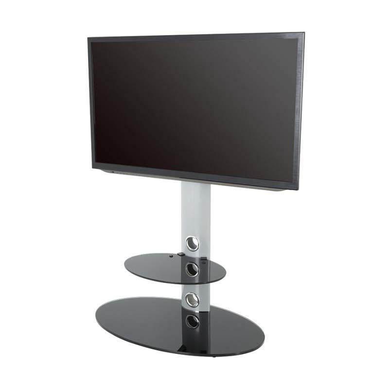 Avf Lugano Pedestal Stand With 32 To 65 Inch Tv Mount Pertaining To Tv Stands Fwith Tv Mount Silver/black (View 11 of 20)