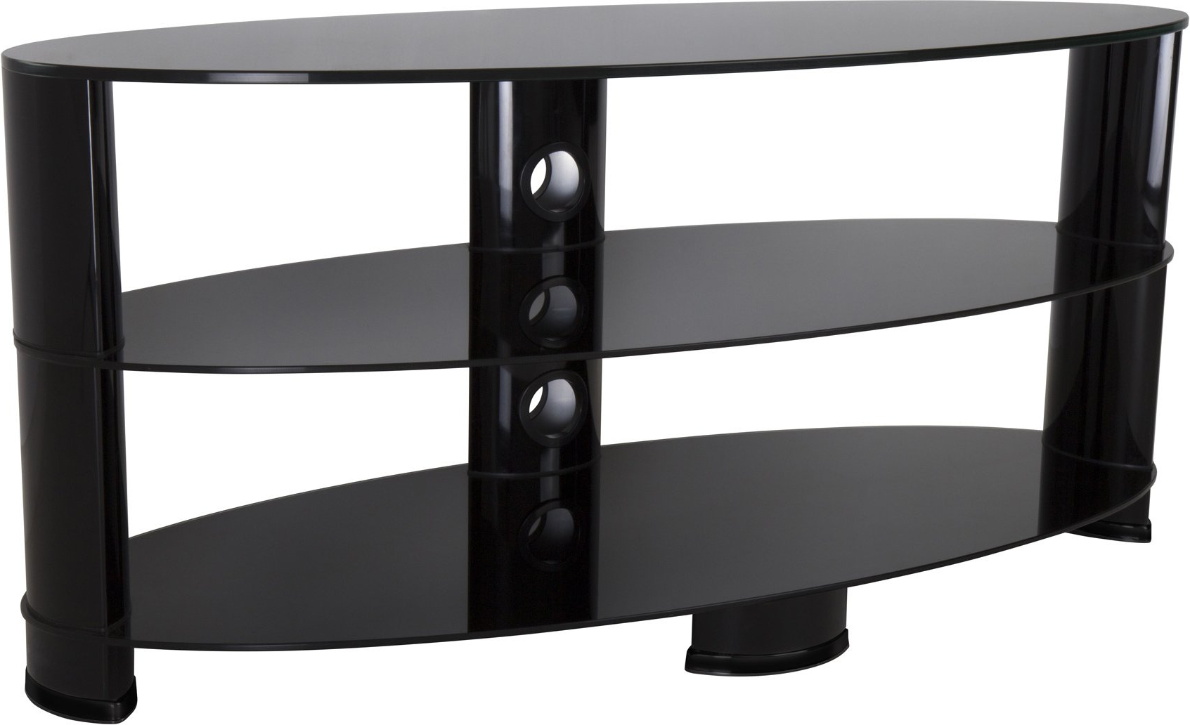 """Avf Ovl1200bb Oval Glass Tv Stand For Tvs Up To 55 Inch In Glass Shelves Tv Stands For Tvs Up To 60"""" (View 8 of 20)"""