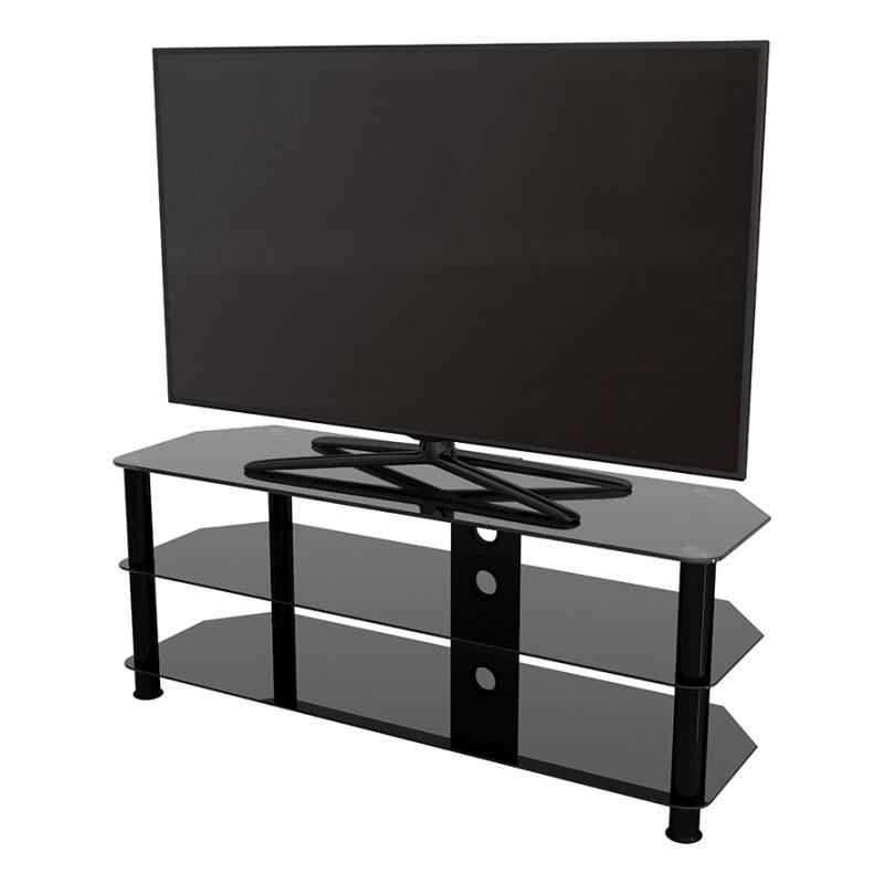 Avf Sdc Series Black Glass 60 Inch Corner Tv Stand (black Inside Edgeware Black Tv Stands (View 14 of 20)
