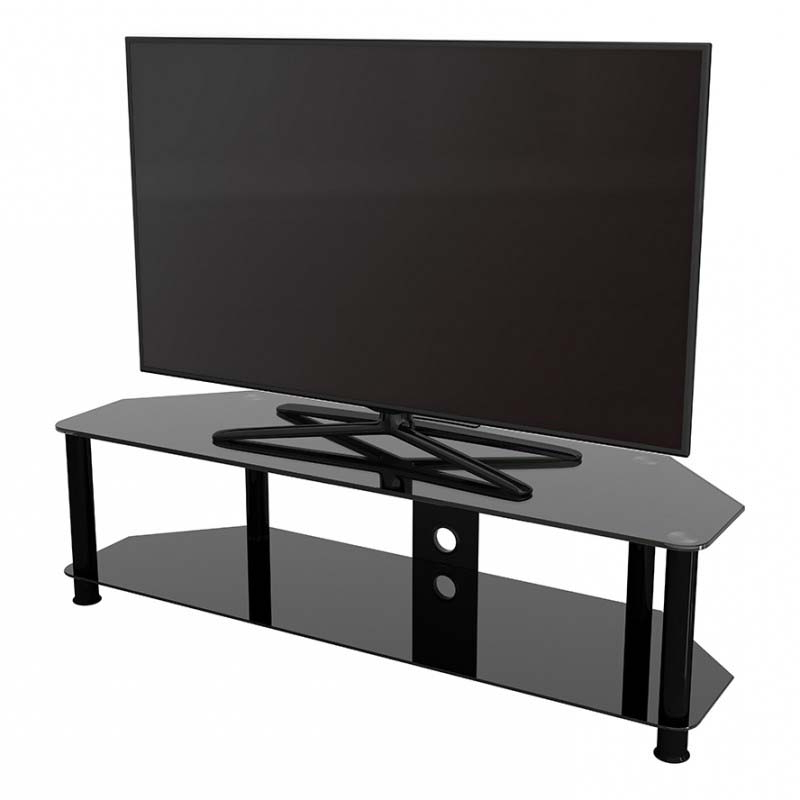 Avf Sdc Series Black Glass 65 Inch Corner Tv Stand (black Throughout Dillon Black Tv Unit Stands (View 13 of 20)