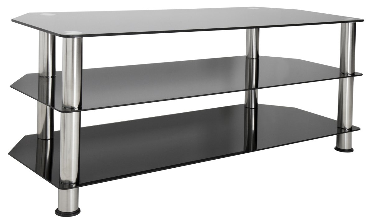 Avf Sdc1140 Universal Black Glass And Chrome Legs Tv Stand With Regard To Rfiver Black Tabletop Tv Stands Glass Base (View 6 of 20)