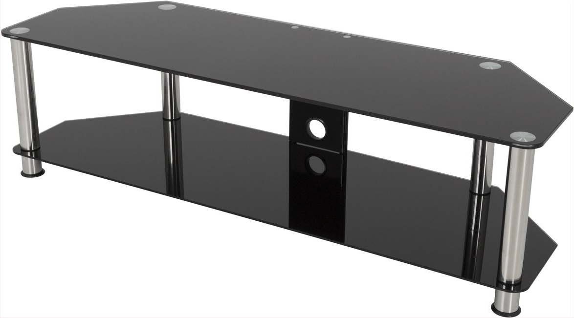 """Avf Sdc1400cm Universal Black Glass And Chrome Legs Tv With Glass Shelves Tv Stands For Tvs Up To 50"""" (View 13 of 20)"""