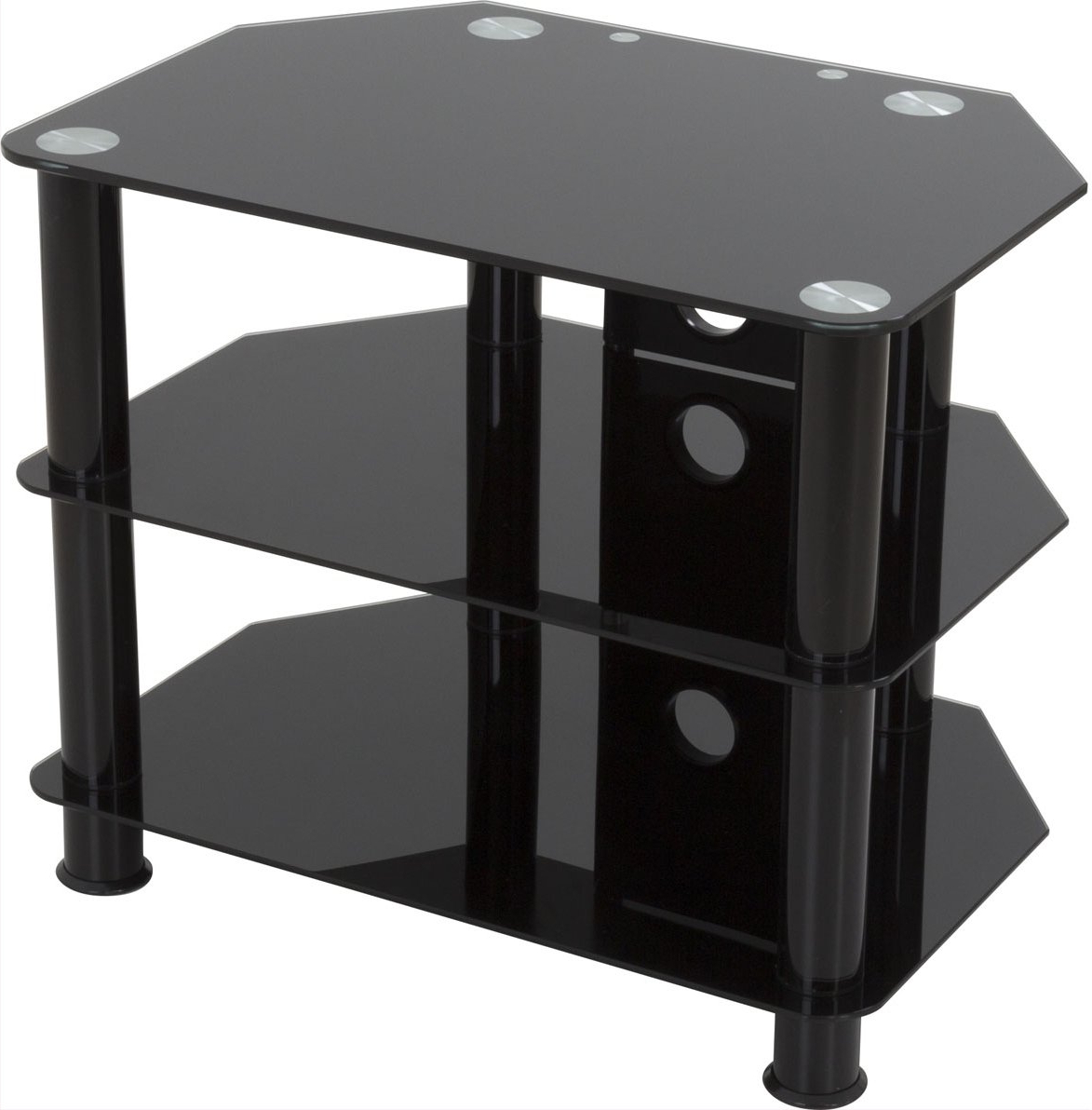 Avf Sdc600cmbb Universal Black Glass And Legs Tv Stand For With Regard To Tier Entertainment Tv Stands In Black (View 5 of 20)