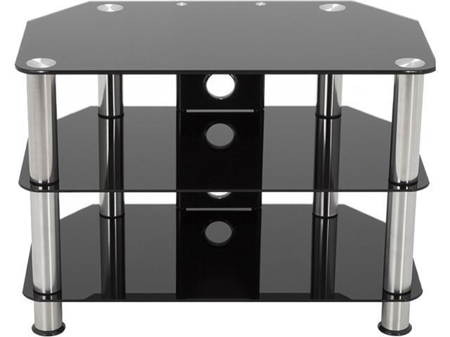 """Avf Sdc800cm A Up To 42"""" Chrome Effect / Black Glass With Regard To Avf Group Classic Corner Glass Tv Stands (View 1 of 20)"""