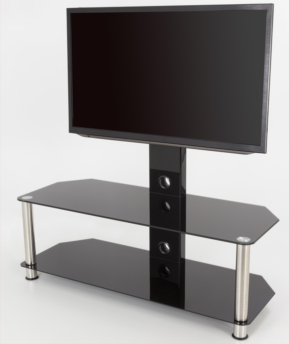 """Avf Sdcl1140 Universal Black Glass And Chrome Legs Intended For Glass Shelves Tv Stands For Tvs Up To 65"""" (View 6 of 20)"""