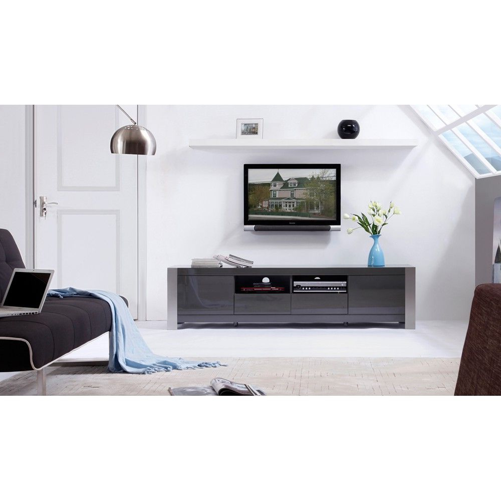 B Modern Composer Tv Stand In Grey High Glossb Modern In Ktaxon Modern High Gloss Tv Stands With Led Drawer And Shelves (View 14 of 20)