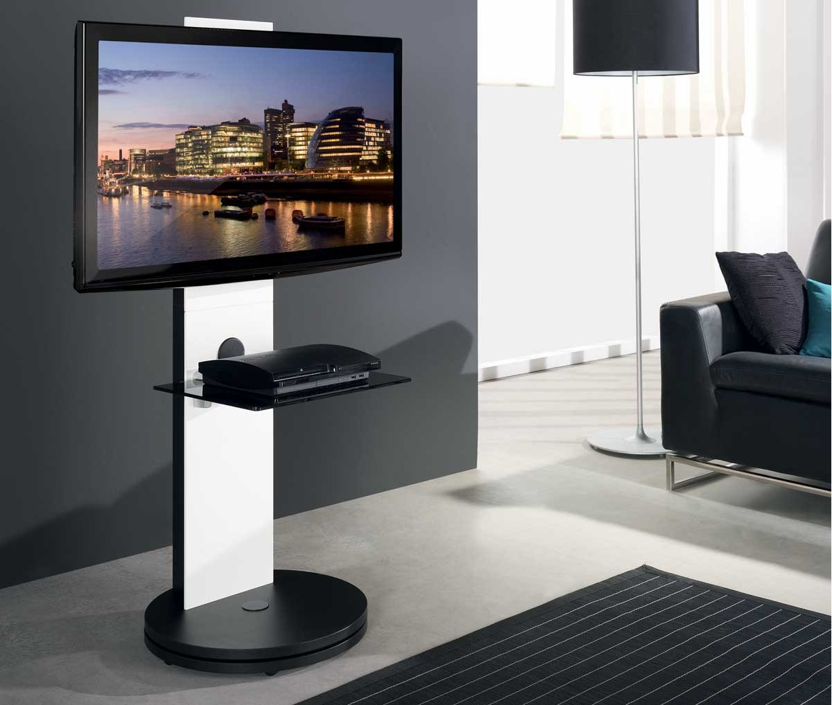 B Tech Btf811 White Corner Cantilever Tv Stand Throughout Modern Black Floor Glass Tv Stands With Mount (View 8 of 20)