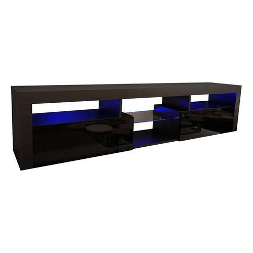 "Bari 200 Black Wall Mounted Floating Modern 79"" Tv Stand For Milano 200 Wall Mounted Floating Led 79"" Tv Stands (View 15 of 20)"