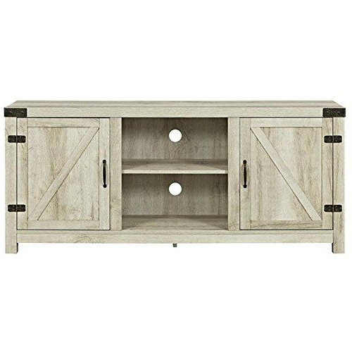 """Barn Door Tv Stand In White Oak Walker Edison Furniture C With Regard To Jaxpety 58"""" Farmhouse Sliding Barn Door Tv Stands In Rustic Gray (View 9 of 20)"""