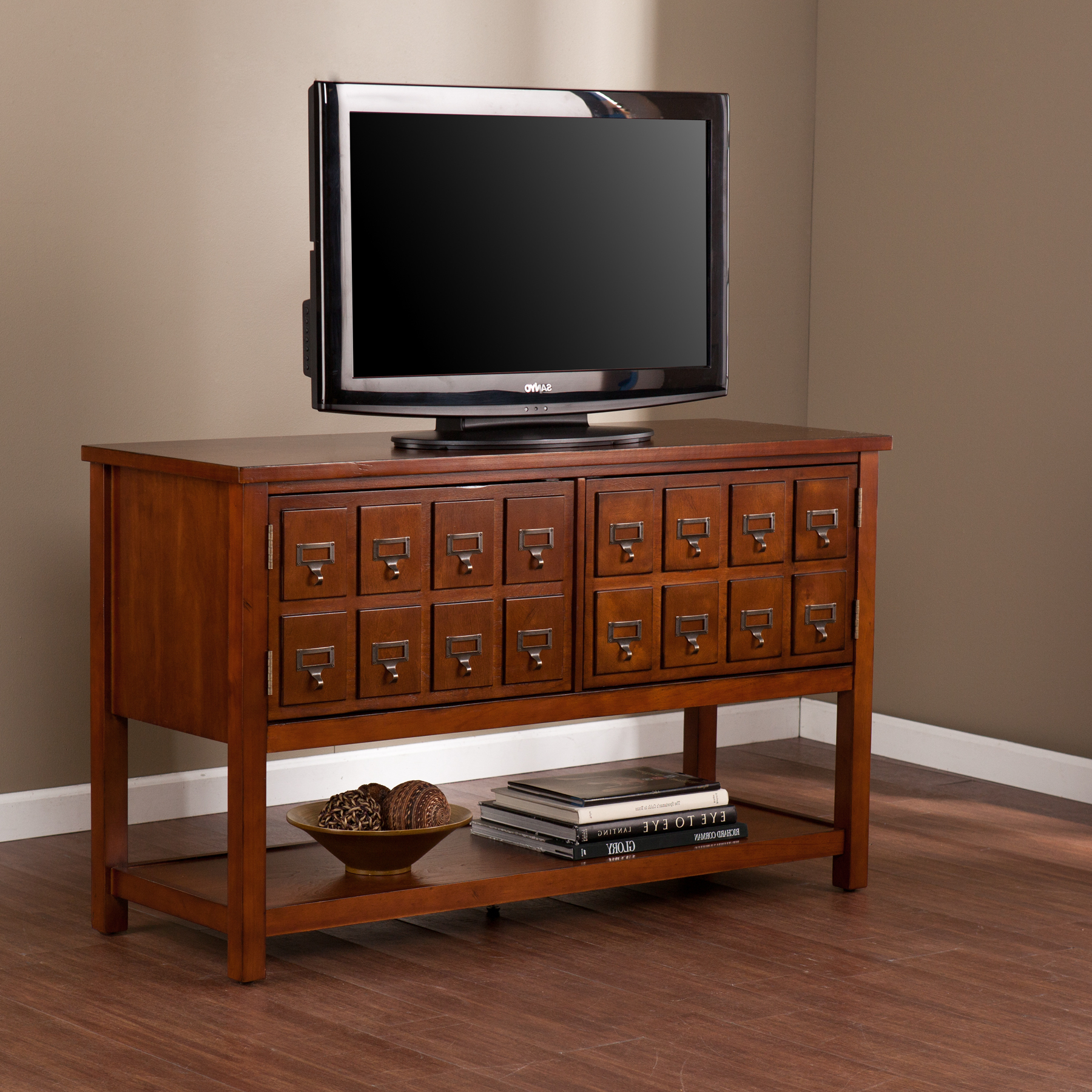 """Barnsdall Brown Mahogany Console/tv Stand For Tvs Up To 48 With Regard To Corner Tv Stands For Tvs Up To 48"""" Mahogany (View 9 of 20)"""