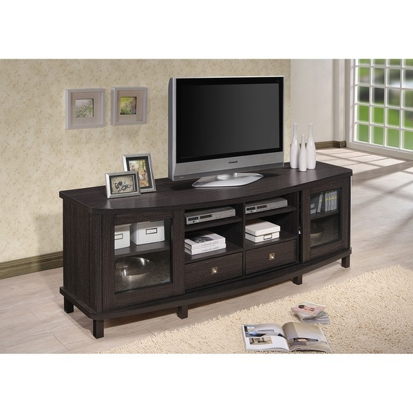 Baxton Studio Udder Contemporary 70 Inch Dark Brown Wood Inside Modern Black Floor Glass Tv Stands For Tvs Up To 70 Inch (View 18 of 20)