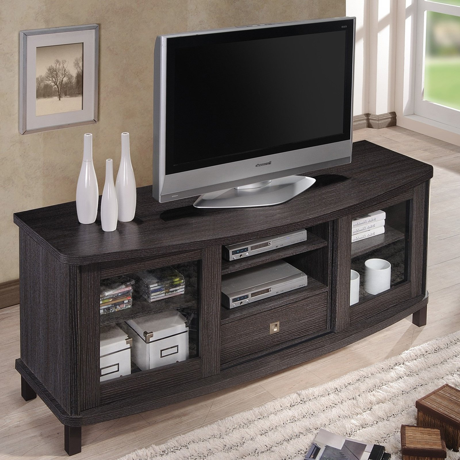 Baxton Studio Walda 60 Inch Dark Brown Wood Tv Cabinet Pertaining To Tv Stands With Drawer And Cabinets (View 1 of 20)