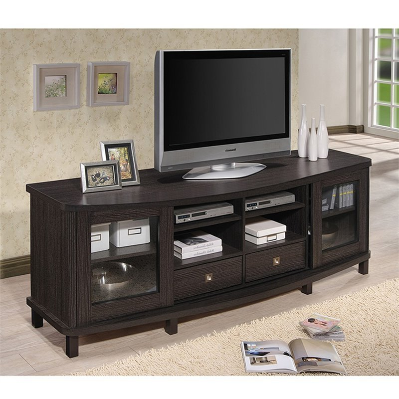 """Baxton Studio Walda 70"""" Tv Stand In Dark Brown Intended For Broward Tv Stands For Tvs Up To 70"""" (View 11 of 20)"""