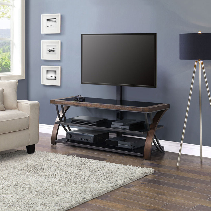 """Bayside Furnishings Burkedale 3 In 1 Tv Stand For Tvs Up Throughout Calea Tv Stands For Tvs Up To 65"""" (View 1 of 20)"""
