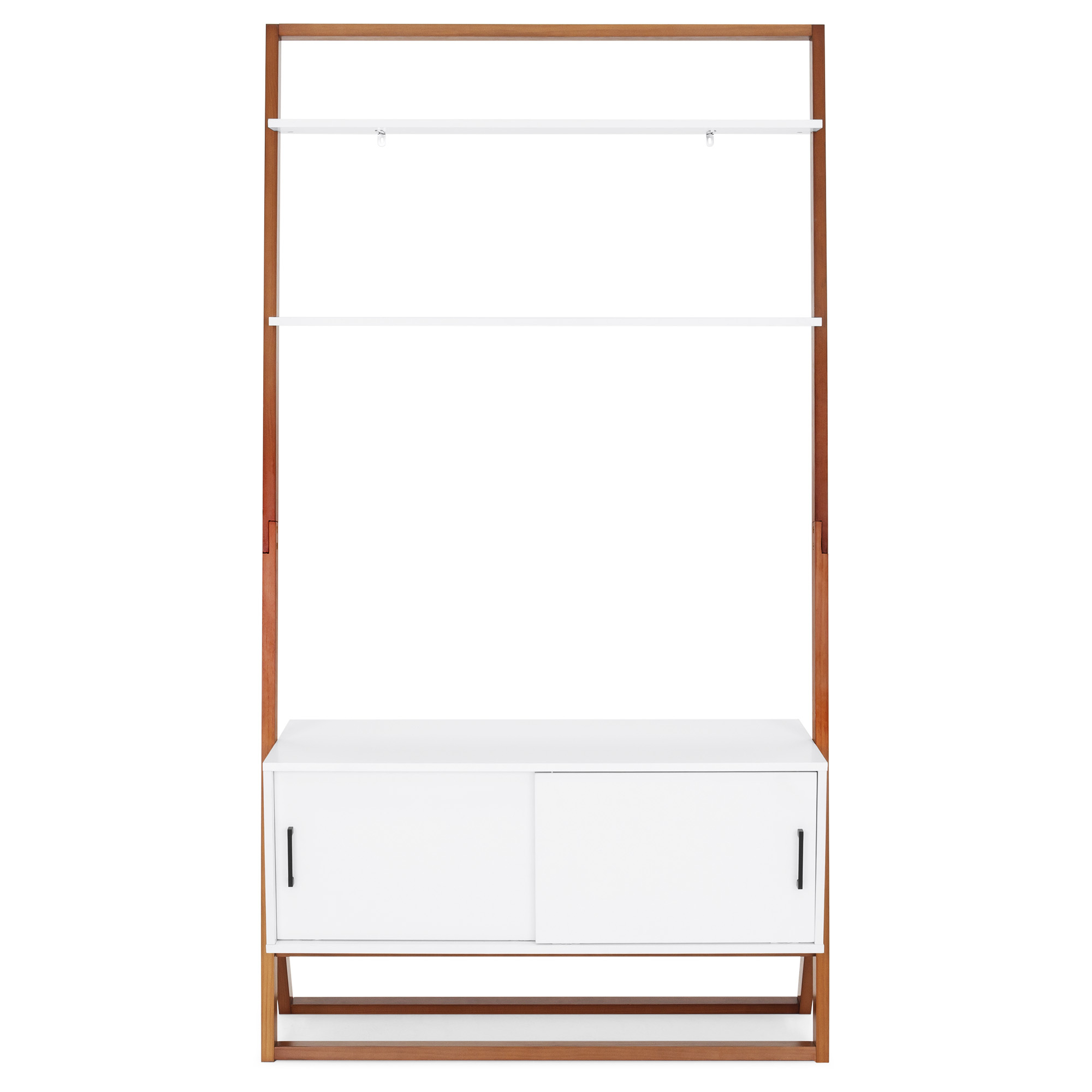 Bcp 42in Ladder Shelf Tv Stand W/ Cabinet – White In Tiva White Ladder Tv Stands (View 13 of 20)