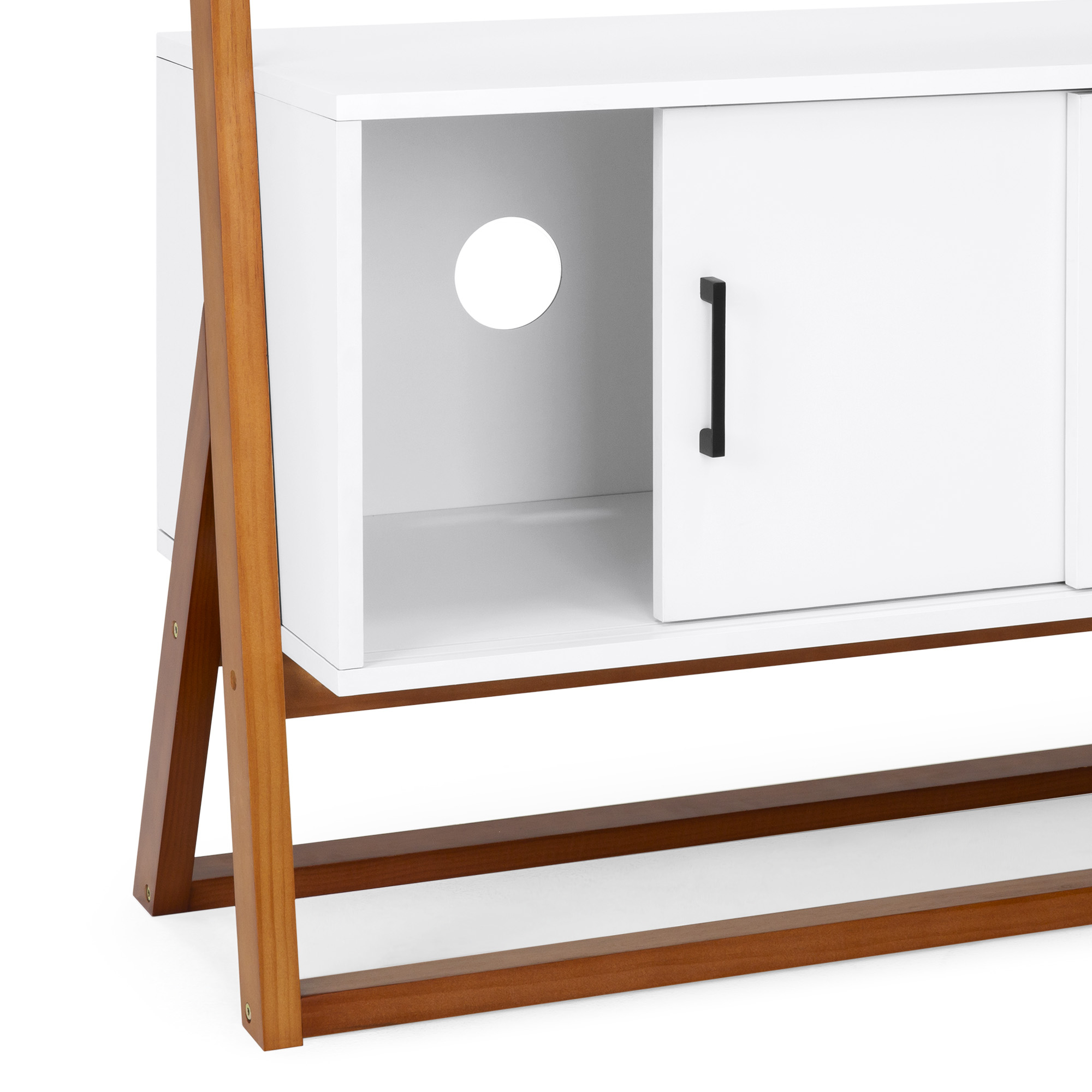 Bcp 42in Ladder Shelf Tv Stand W/ Cabinet – White With Regard To Tiva White Ladder Tv Stands (View 8 of 20)