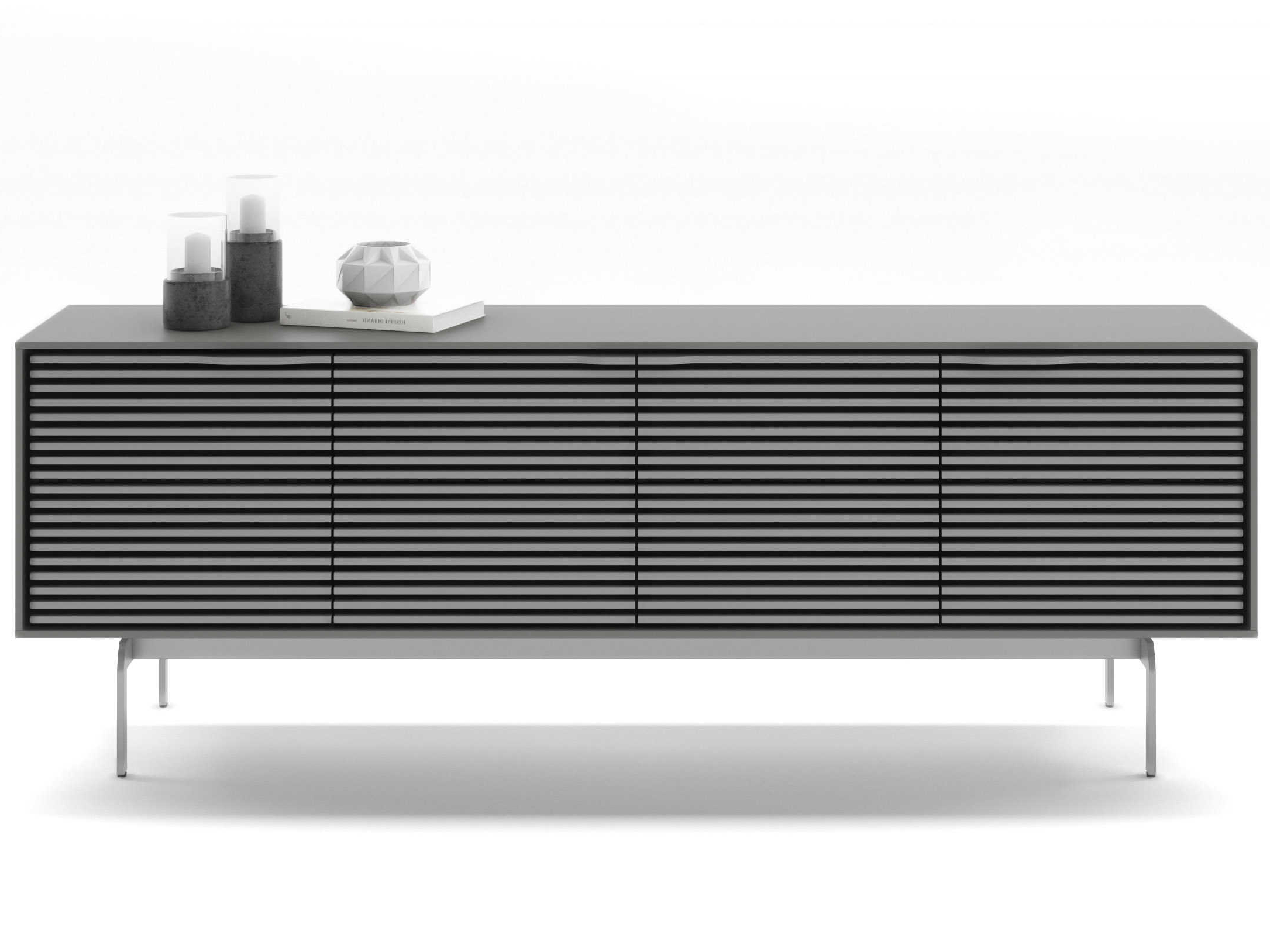Bdi Align Fog Grey 81'' Wide Tv Stand With Console Base Throughout Lucy Cane Grey Wide Tv Stands (View 9 of 20)