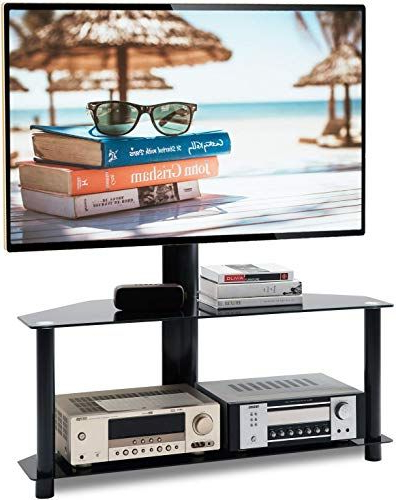 """Beautiful 5rcom Universal Floor Tv Stand With Swivel Mount Within Whalen Furniture Black Tv Stands For 65"""" Flat Panel Tvs With Tempered Glass Shelves (View 7 of 20)"""