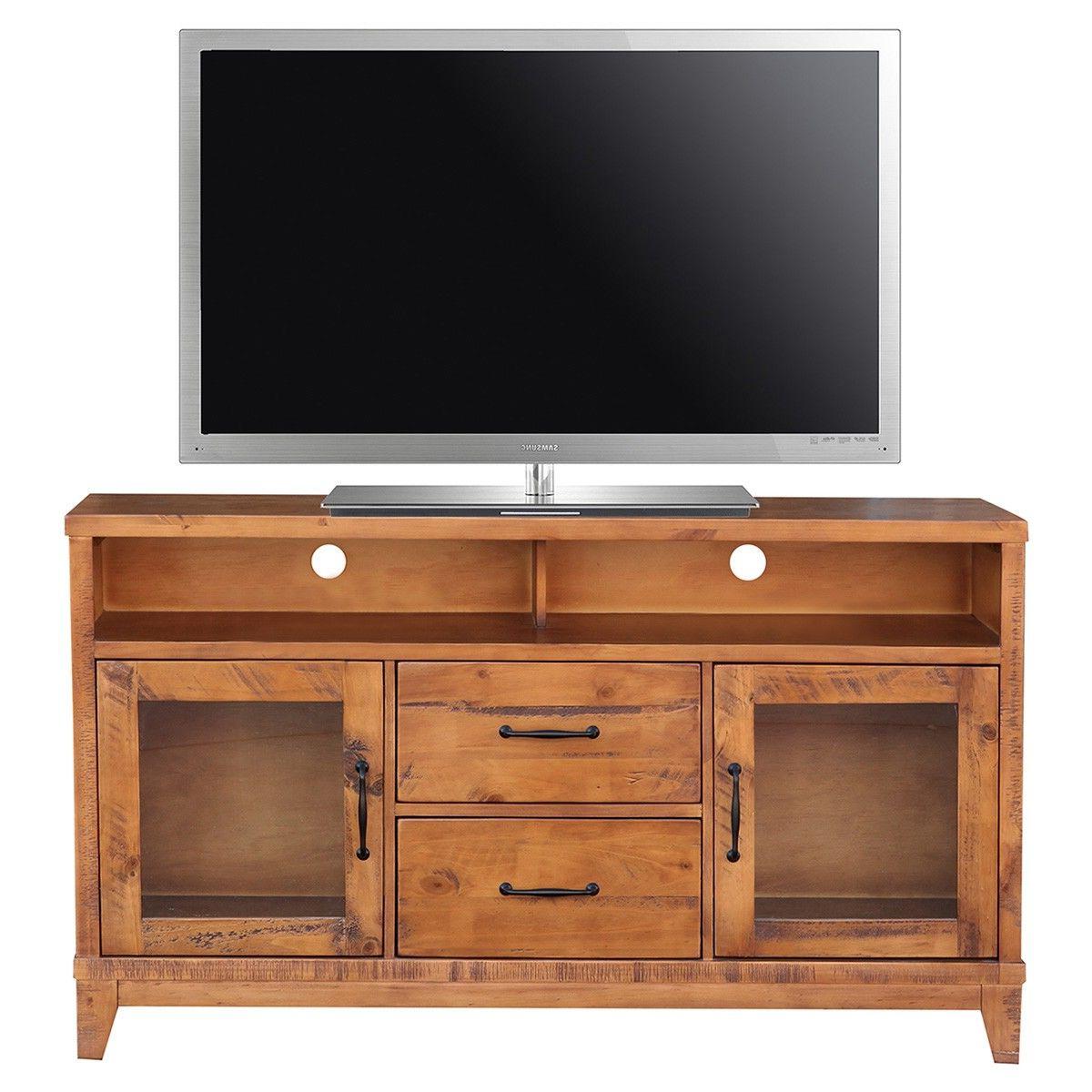 Belfort Pine Timber 2 Door 2 Drawer High Tv Stand, 140cm In Manhattan 2 Drawer Media Tv Stands (View 7 of 20)