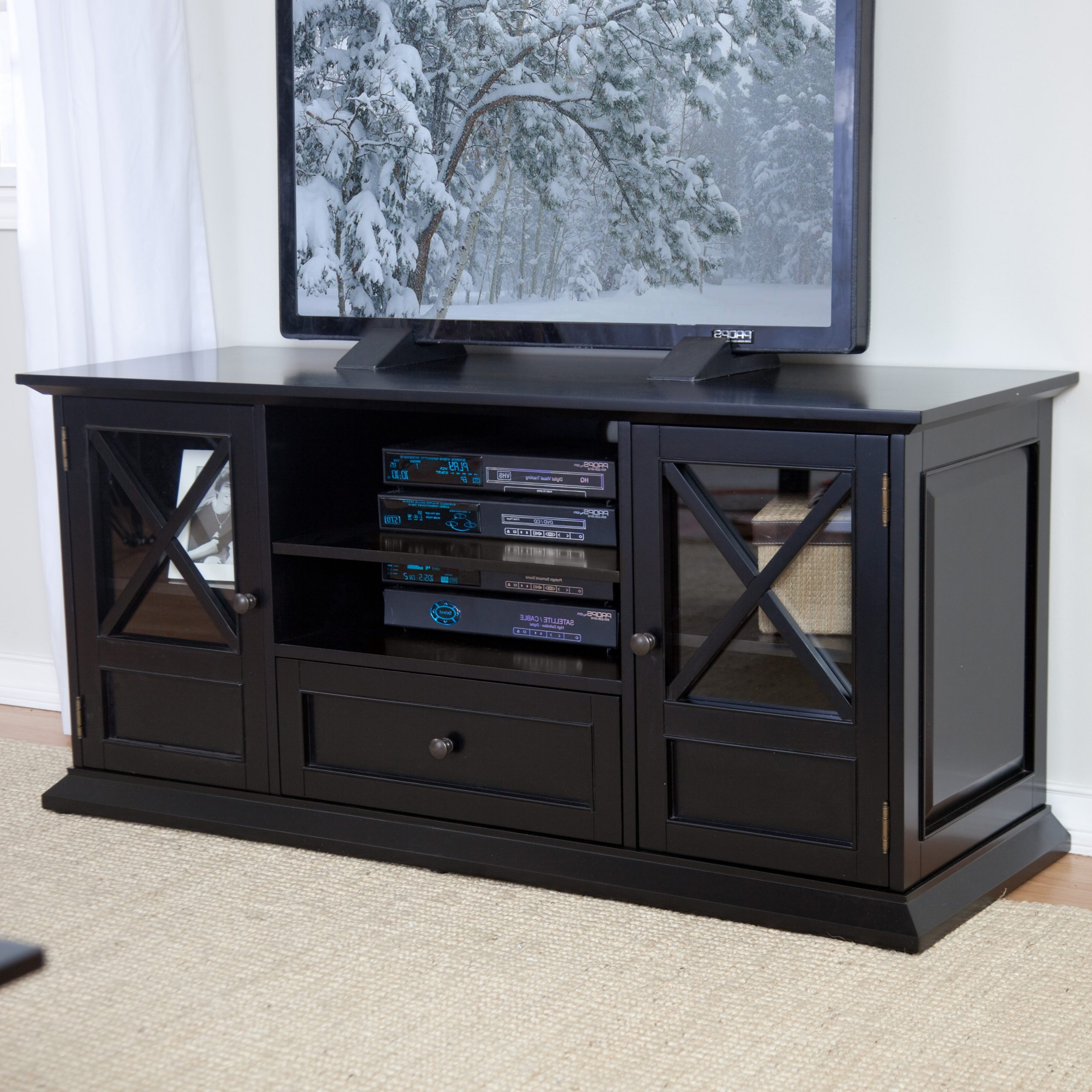 Belham Living Hampton 55 Inch Tv Stand – Black At Hayneedle Within Jackson Wide Tv Stands (View 6 of 20)