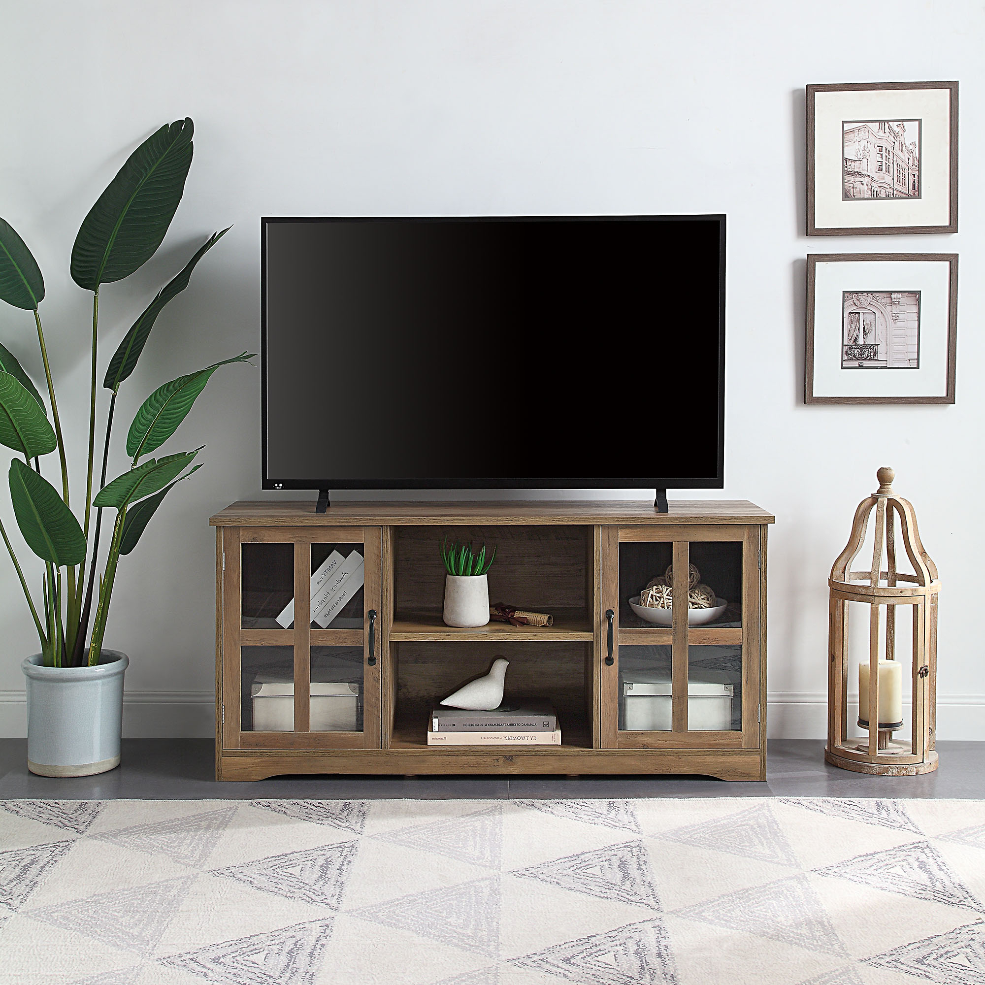 """Belleze Cori 52 Inch Tv Stand Wood And Glass Console For With Glass Shelves Tv Stands For Tvs Up To 60"""" (View 1 of 20)"""
