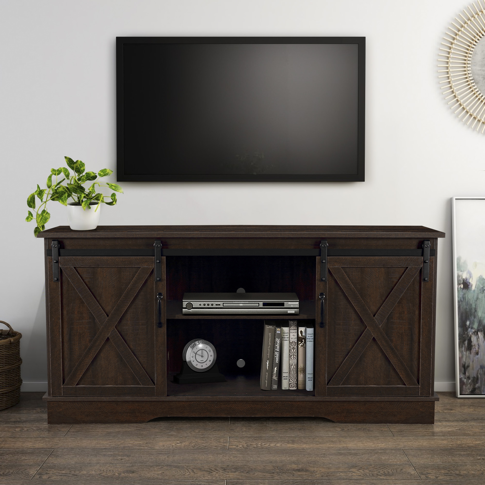 Belleze Modern Farmhouse Style 58 Inch Tv Stand With For Barn Door Wood Tv Stands (View 5 of 20)