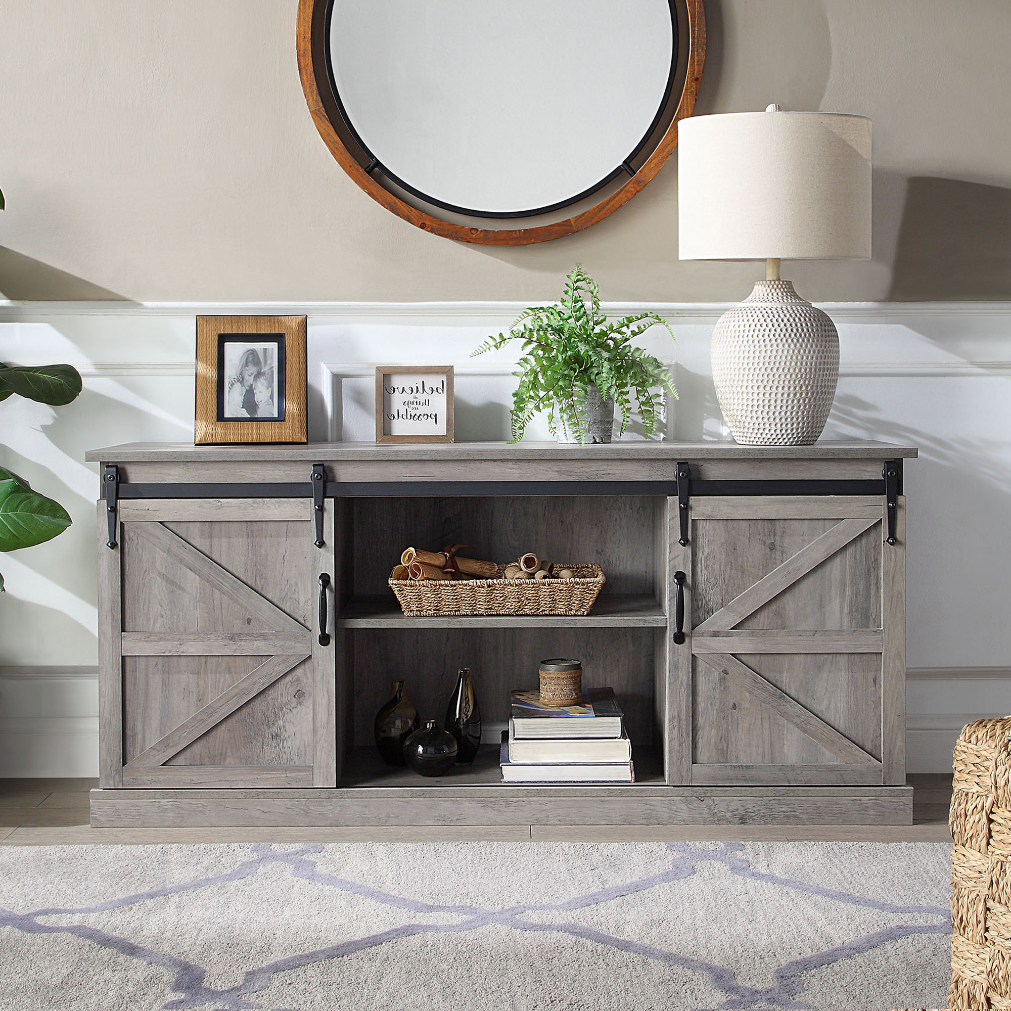 """Belleze Modern Farmhouse Style 58""""tv Stand W/sliding Barn For Jaxpety 58"""" Farmhouse Sliding Barn Door Tv Stands (View 17 of 20)"""