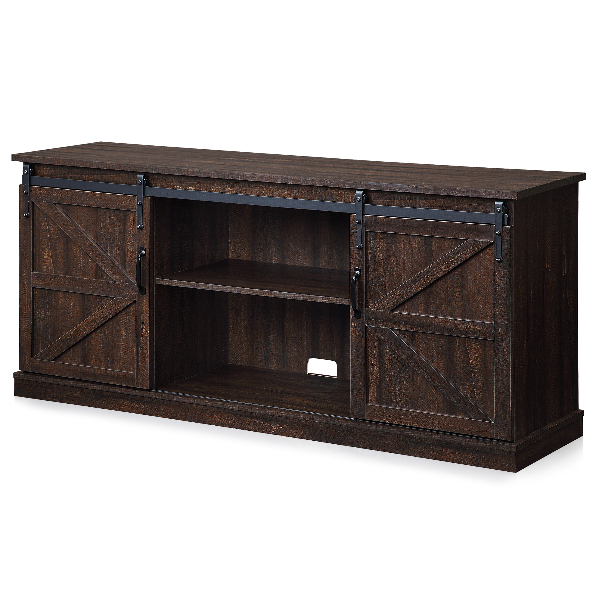 """Belleze Modern Farmhouse Style 58""""tv Stand W/sliding Barn Regarding Jaxpety 58"""" Farmhouse Sliding Barn Door Tv Stands (View 8 of 20)"""
