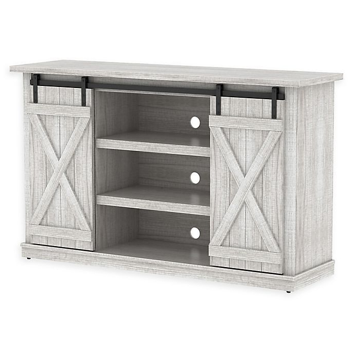 Bell'o® Cottonwood Two Toned Tv Stand | Bed Bath & Beyond Within Woven Paths Franklin Grooved Two Door Tv Stands (View 11 of 20)