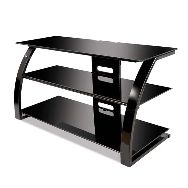 Bello High Gloss Black 46 Inch Glass Flat Panel Tv Stand In Modern Black Floor Glass Tv Stands With Mount (View 13 of 20)