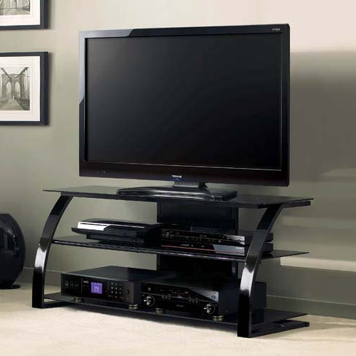 Bello High Gloss Black 55 Inch Tv Stand With Black Glass Regarding Space Saving Black Tall Tv Stands With Glass Base (View 17 of 20)
