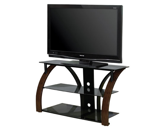 Bello Tv Stand Avsc 2141 Hdtv And Electronics With Regard To 57'' Tv Stands With Open Glass Shelves Gray & Black Finsh (View 9 of 20)