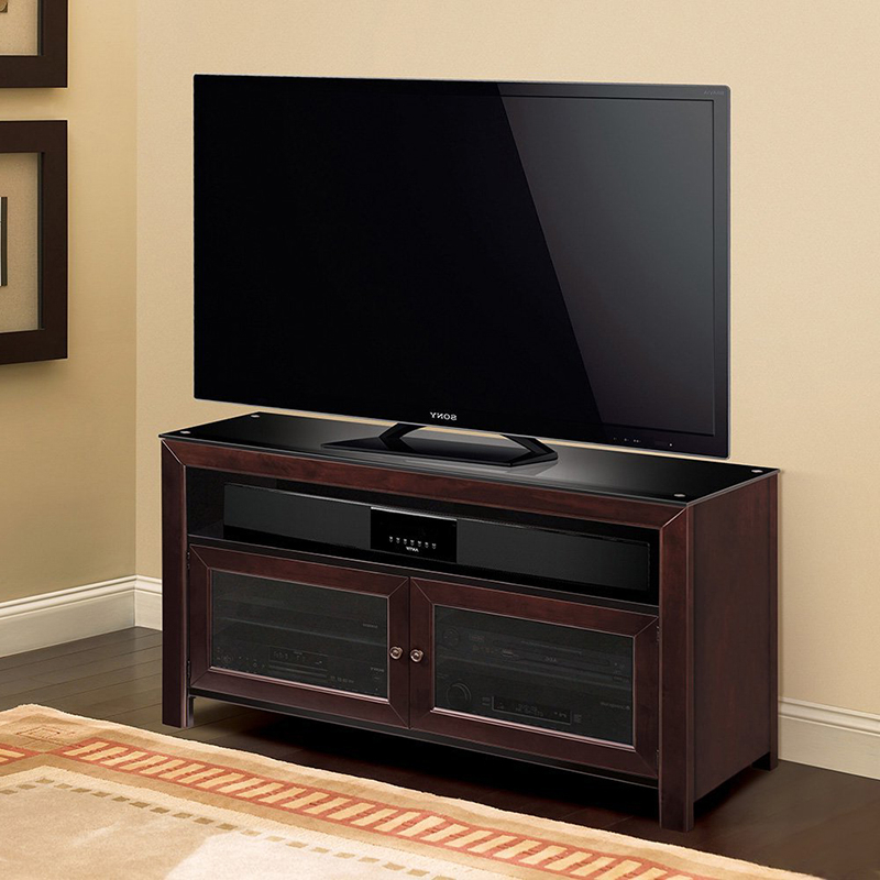 """Bello Wmfc503 No Tools Assembly Deep Mahogany Finish Wood With Regard To Baba Tv Stands For Tvs Up To 55"""" (View 10 of 20)"""