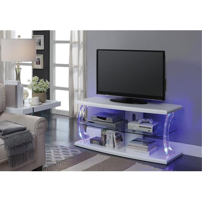Benzara Bm194287 Modern Style Wooden Tv Stand With Acrylic Throughout 57'' Led Tv Stands Cabinet (View 14 of 20)