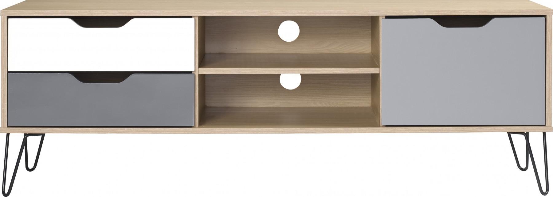 Bergen 1 Door 2 Drawer Tv Unit In Oak Effect/white/grey For Bergen Tv Stands (View 12 of 20)